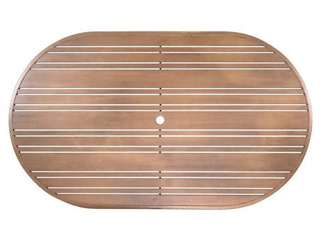 Woodard Extruded Aluminum Tri-Slat 72 x 42 Racetrack Oval Table Top with Umbrella Hole
