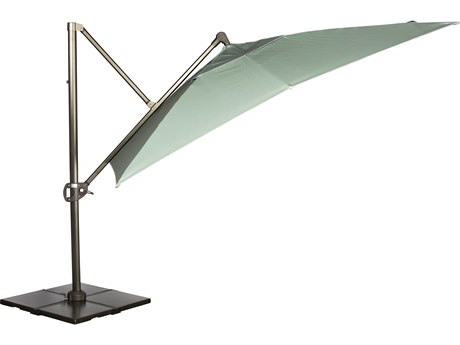 Woodard Aluminum 10 Foot Square Cantilever Umbrella with Steel Cross Base
