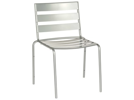Woodard Cafe Series Wrought Iron Silver Mercury Stackable Dining Side Chair