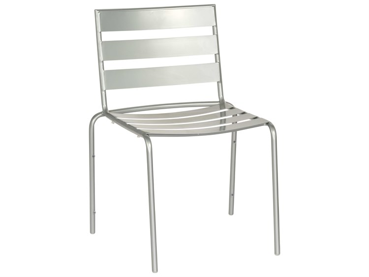 Woodard Quick Ship Cafe Series Wrought Iron Dining Chair in Mercury Finish