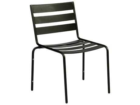 Woodard Cafe Series Wrought Iron Stackable Dining Chair in Mercury Finish