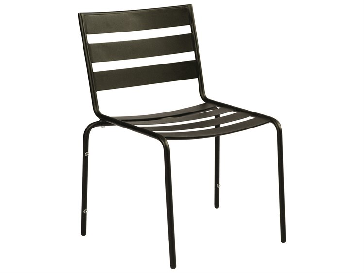 Woodard Cafe Series Wrought Iron Textured Black Stackable Dining Arm Chair PatioLiving
