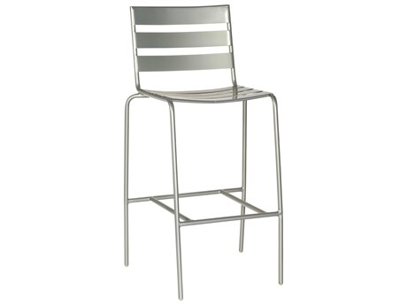 Woodard Quick Ship Cafe Series Wrought Iron Bar Stool in Mercury Finish