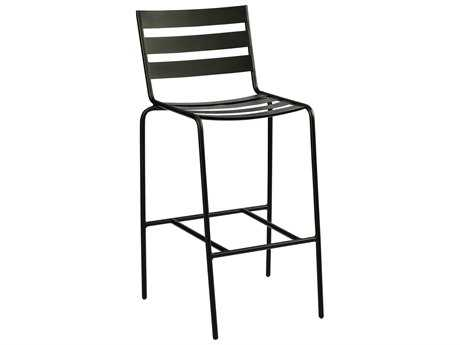 Woodard Cafe Series Wrought Iron Bar Stool in Mercury Finish