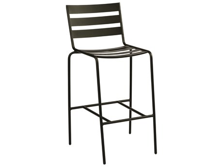 Woodard Quick Ship Cafe Series Wrought Iron Bar Stool in Textured Black