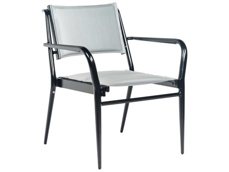 Woodard Daytona Padded Sling Aluminum Dining Arm Chair - Stacking