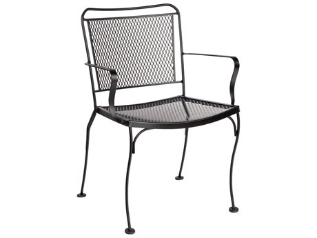 Woodard Constantine Wrought Iron Dining Arm Chair w/ Seat Cushion