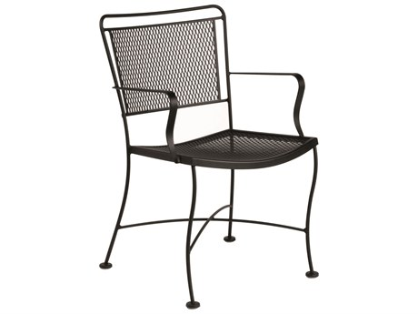Woodard Constantine Wrought Iron Dining Arm Chair with Cushion
