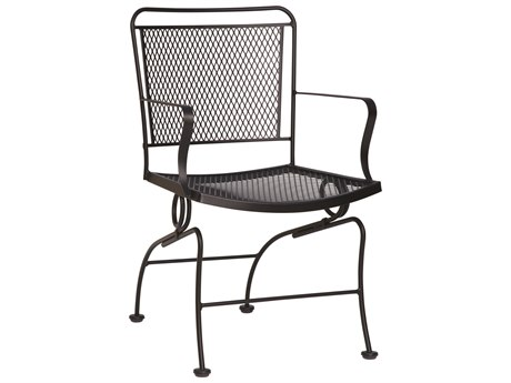 Woodard Constantine Wrought Iron Coil Spring Dining Chair w/ Seat Cushion