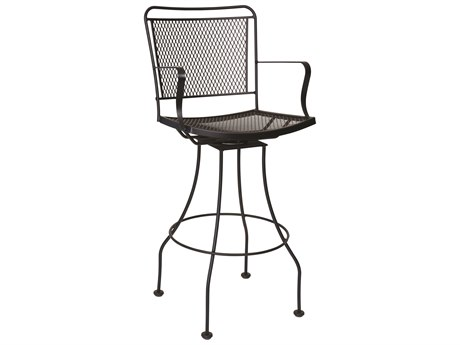 Woodard Constantine Wrought Iron Swivel Bar Stool w/ Seat Cushion