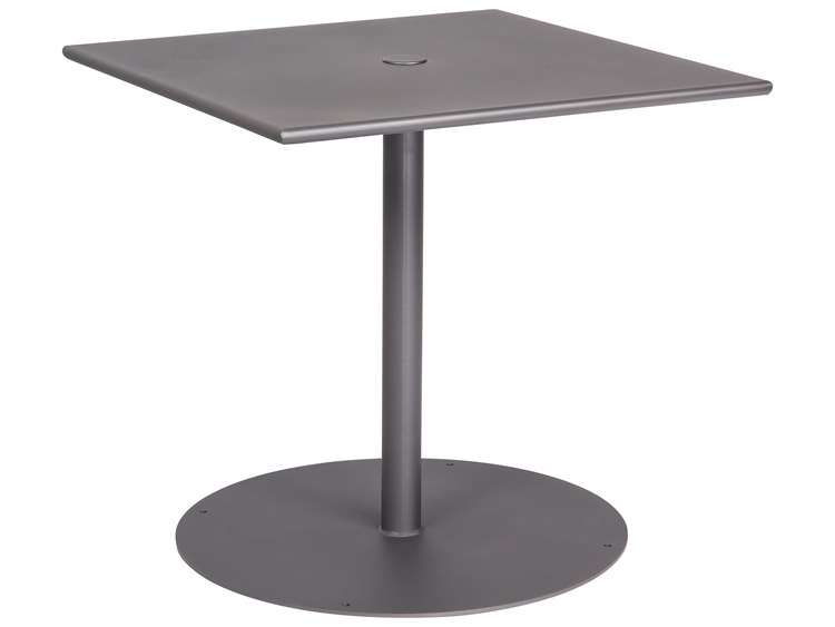 Woodard Wrought Iron Square Bistro Table With Pedestal Base - Square pedestal pub table