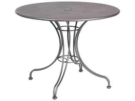 Woodard Wrought Iron 36 Round Bistro Table with Umbrella Hole