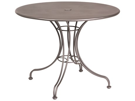 Woodard Wrought Iron 36''Wide Round Dining Table with Umbrella Hole