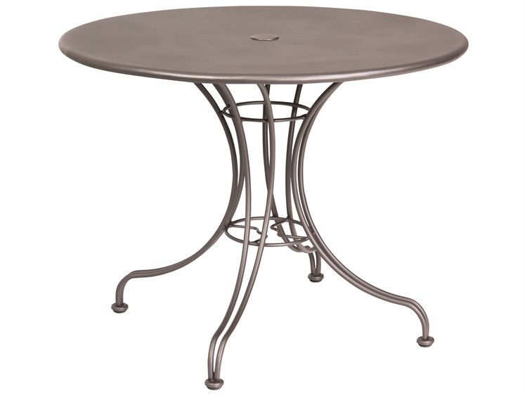 Woodard Wrought Iron 36 Round Dining Table with Umbrella Hole PatioLiving