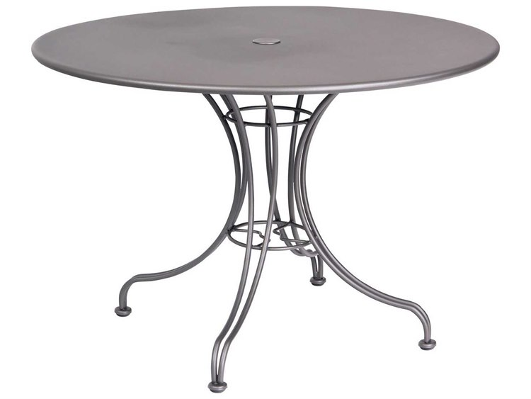 Woodard Wrought Iron 42''Wide Round Dining Table with Umbrella Hole PatioLiving