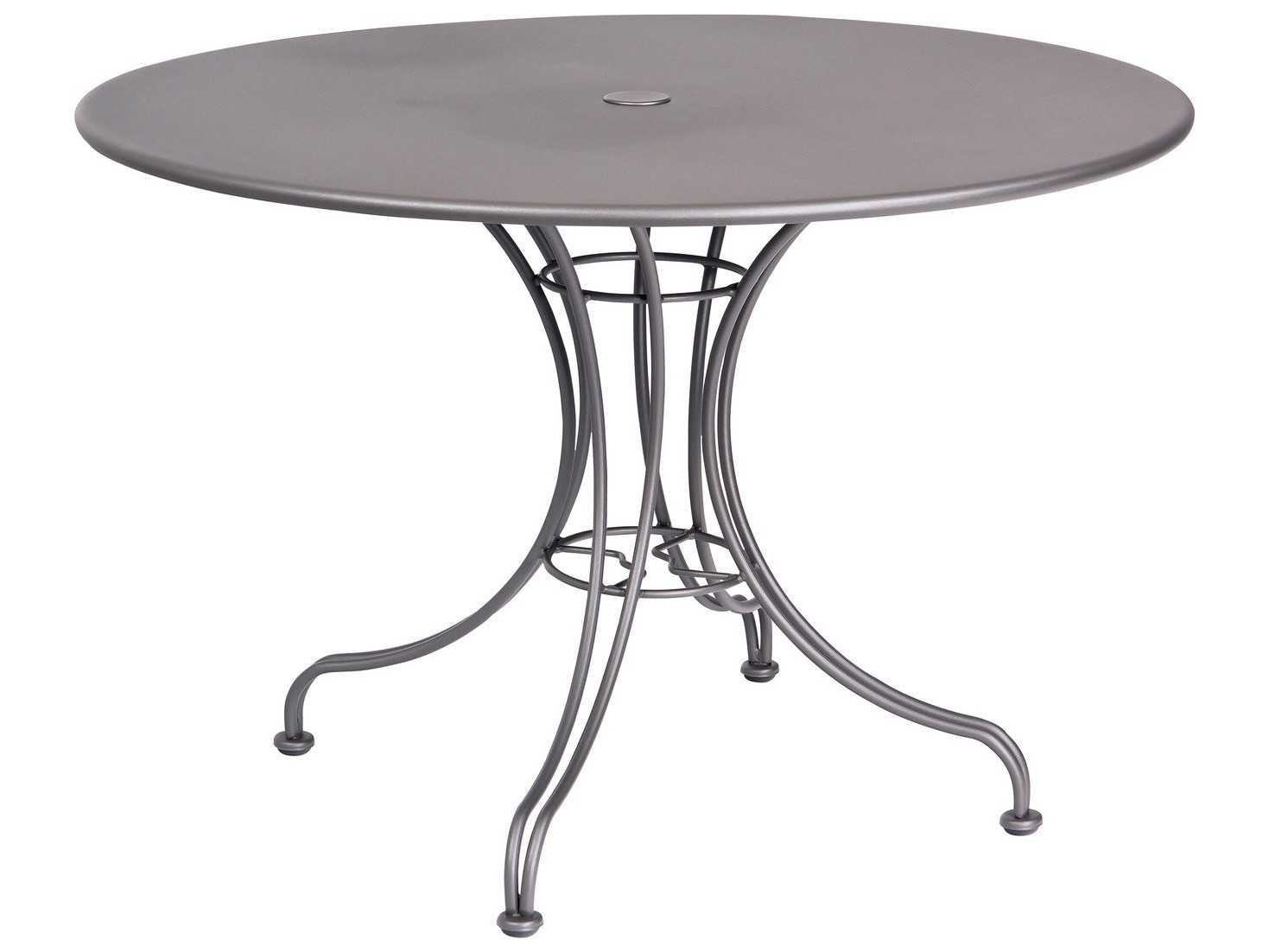 Woodard Wrought Iron 42 Round Dining Table with Umbrella