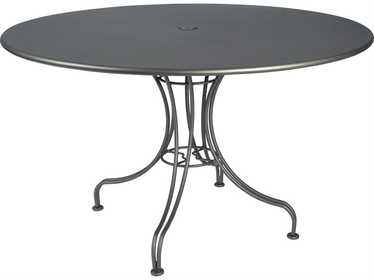 Woodard Wrought Iron Tables Round Umbrella Hole Dining Table