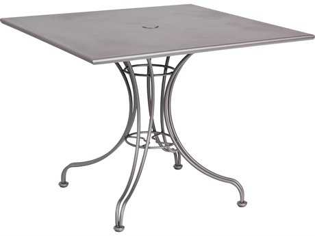 Woodard Wrought Iron 36 Square Bistro Table with Umbrella Hole
