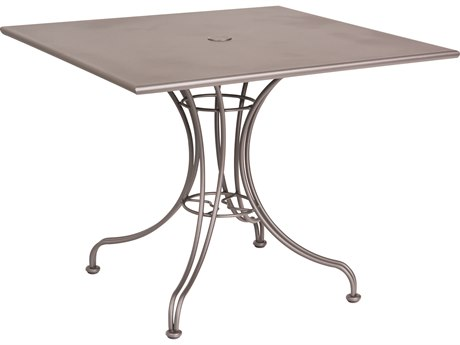 Woodard Wrought Iron 36''Wide Square Dining Table with Umbrella Hole