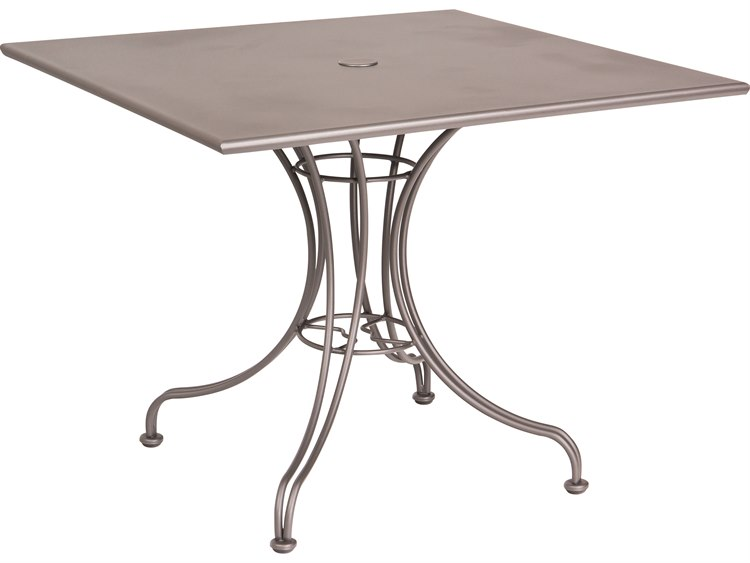 Woodard Wrought Iron 36 Square Dining Table with Umbrella Hole