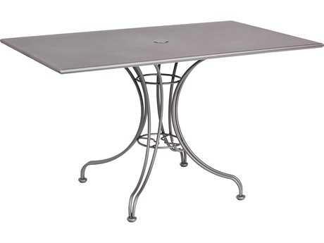 Woodard Wrought Iron 48 x 30 Rectangular Table with Umbrella Hole