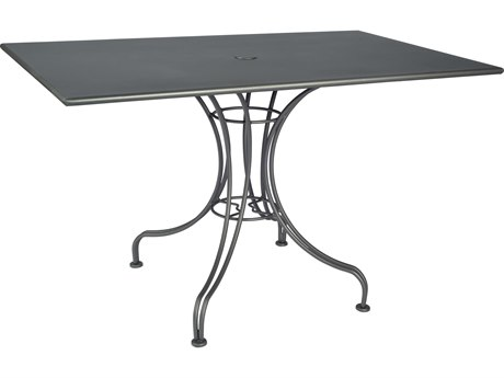 Woodard Wrought Iron 48''W x 30''D Rectangular Dining Table with Umbrella Hole