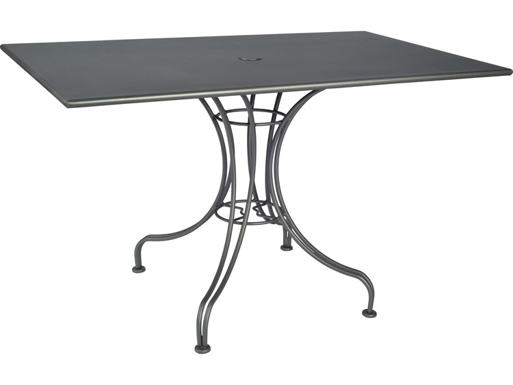 Woodard Wrought Iron 48''W x 30''D Rectangular Dining Table with Umbrella Hole PatioLiving