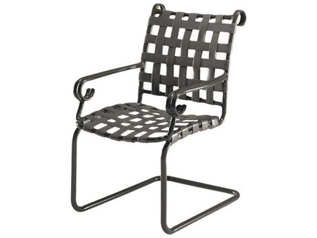 Woodard Ramsgate Aluminum Spring Base Dining Arm Chair w/ Seat Cushion