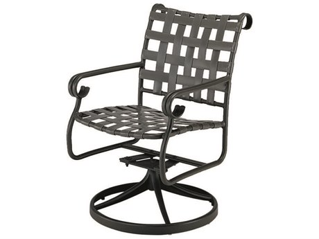 Woodard Ramsgate Aluminum Swivel Rocker Dining Arm Chair w/ Seat & Back Cushion