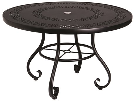 Woodard Ramsgate Aluminum 48''Wide Round Trellis Top Dining Table with Umbrella Hole