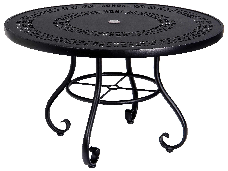 Woodard ramsgate aluminum 48 round trellis top table with - Aluminium picnic table with umbrella ...