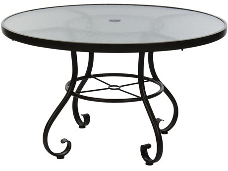 Woodard Ramsgate Aluminum 36''Wide Round Glass Top Dining Table with Umbrella Hole