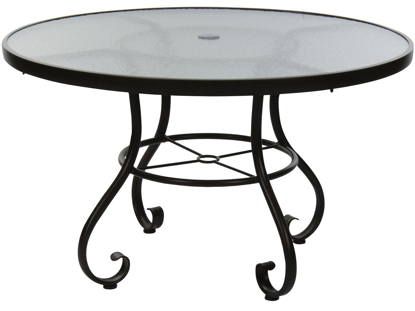 Woodard ramsgate aluminum 36 round obscure glass top with - Aluminium picnic table with umbrella ...