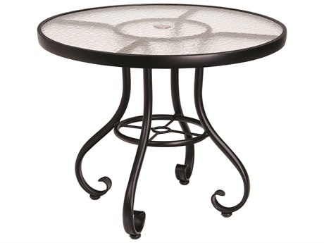 Woodard Ramsgate Aluminum 48''Wide Round Glass Top Dining Table with Umbrella Hole