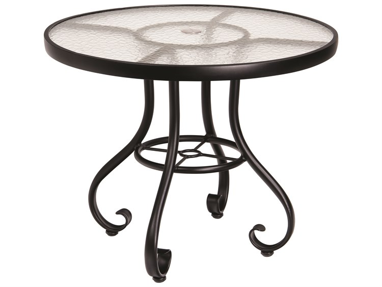 Woodard Ramsgate Aluminum 48 Round Obscure Glass Top with Umbrella Hole