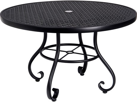 Woodard Ramsgate Aluminum 48 Round Lattice Top Table with Umbrella Hole