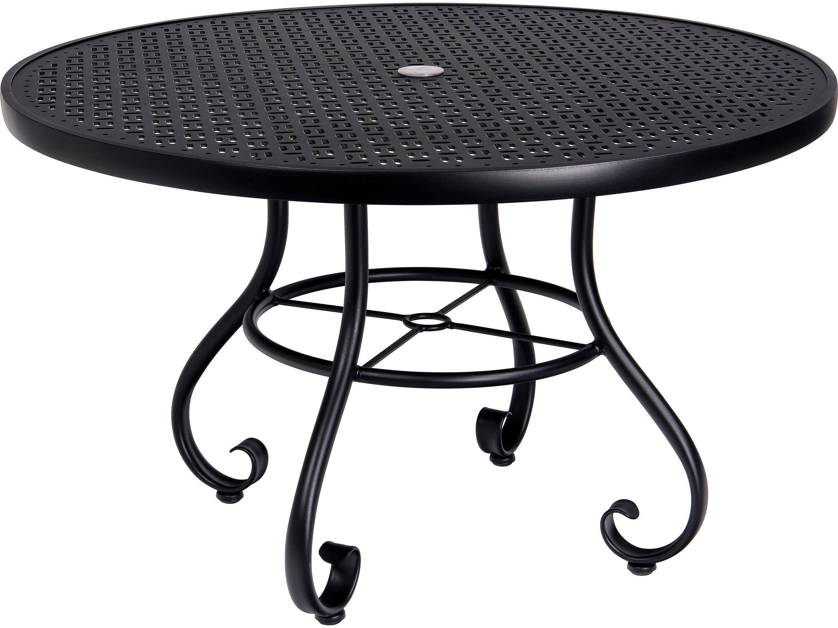 Woodard ramsgate aluminum 48 round lattice top table with - Aluminium picnic table with umbrella ...