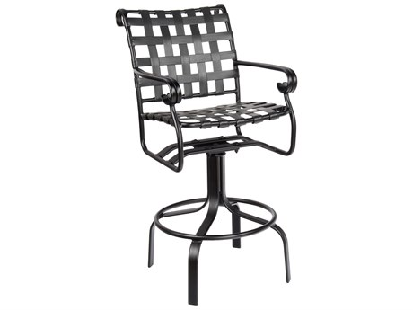 Woodard Ramsgate Aluminum Swivel Bar Stool w/ Seat & Back Cushion