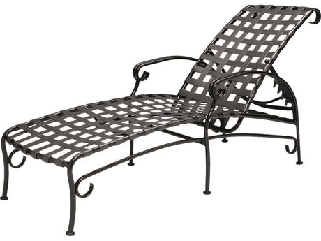 Woodard Ramsgate Strap Aluminum Adjustable Chaise Lounge with Cushiom