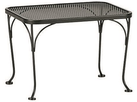 Woodard Wrought Iron Mesh 24''W x 18''D Rectangular End Table PatioLiving