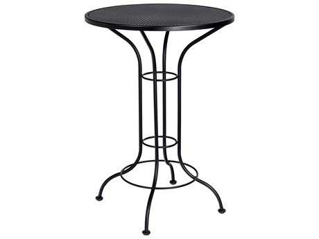 Woodard Aurora Wrought Iron 30 Round Mesh Top Bar Height Table