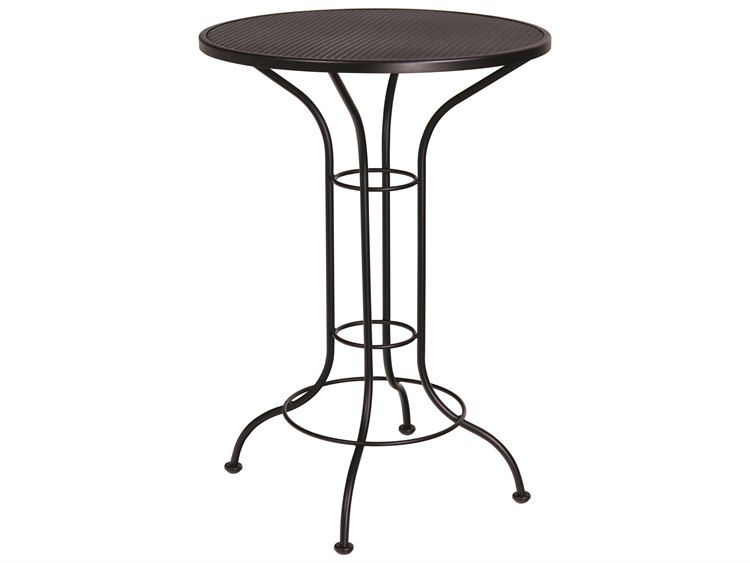 Woodard Aurora Wrought Iron 30 Round Mesh Top Bar Height Table PatioLiving