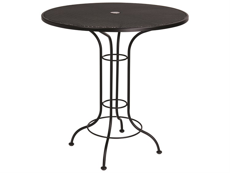 Woodard Aurora Wrought Iron 42 Round Mesh Top Bar Height Table with Umbrella Hole