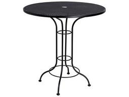 Aurora Wrought Iron 42 Round Mesh Top Bar Height Table with Umbrella Hole