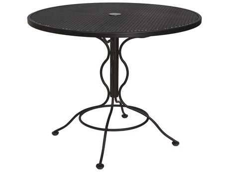 Woodard Wrought Iron Mesh 36''Wide Round Bistro Table with Umbrella Hole