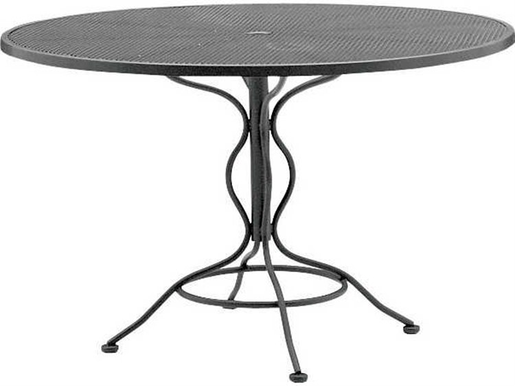 Woodard Mesh Wrought Iron 48 Round Curved Legs Table with Umbrella Hole PatioLiving