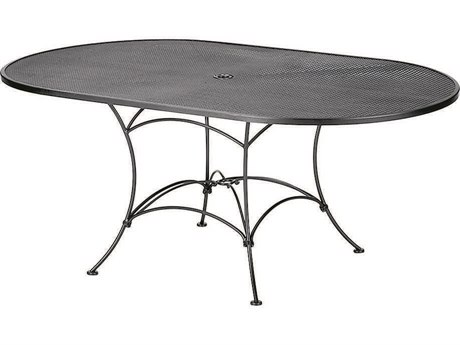 Woodard Mesh Wrought Iron 72 x 42 Oval Table with Umbrella Hole - Outdoor Dining Tables For Sale With Free Shipping PatioLiving