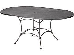 Mesh Wrought Iron 72 x 42 Oval Table with Umbrella Hole