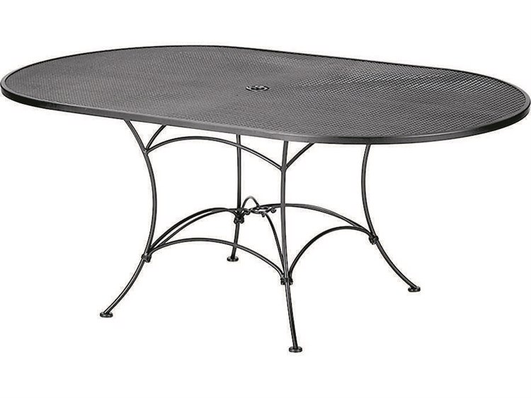 Woodard Mesh Wrought Iron 72 x 42 Oval Table with Umbrella Hole PatioLiving