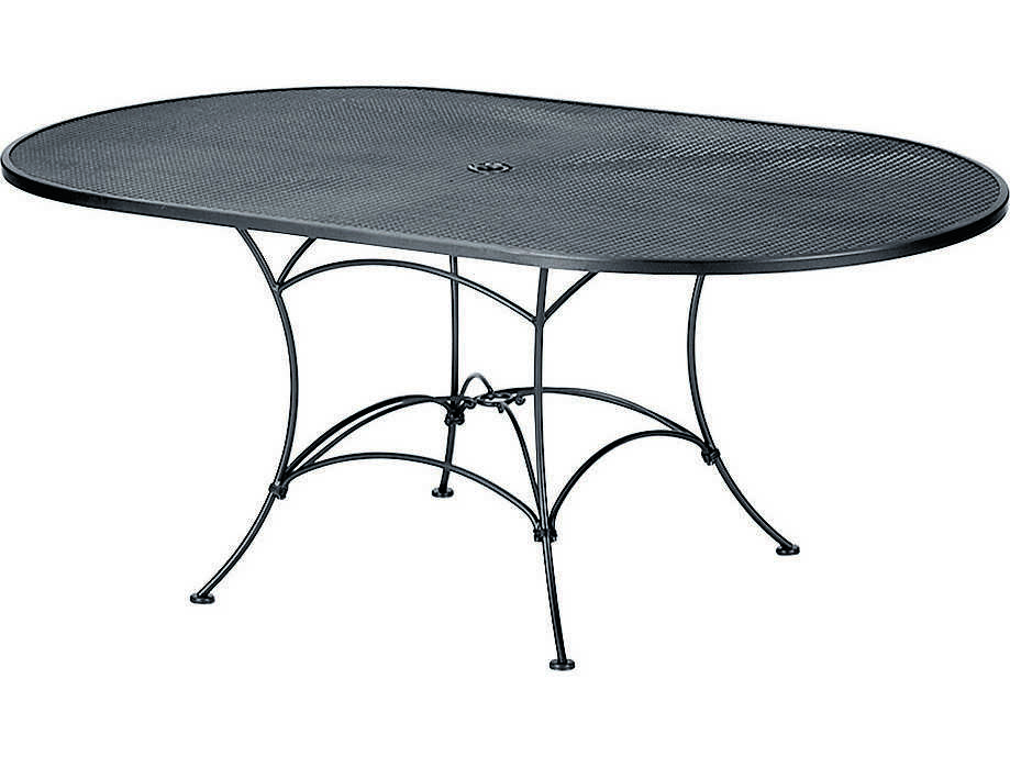 woodard mesh wrought iron 72 x 42 oval table with umbrella hole wr190143. Black Bedroom Furniture Sets. Home Design Ideas